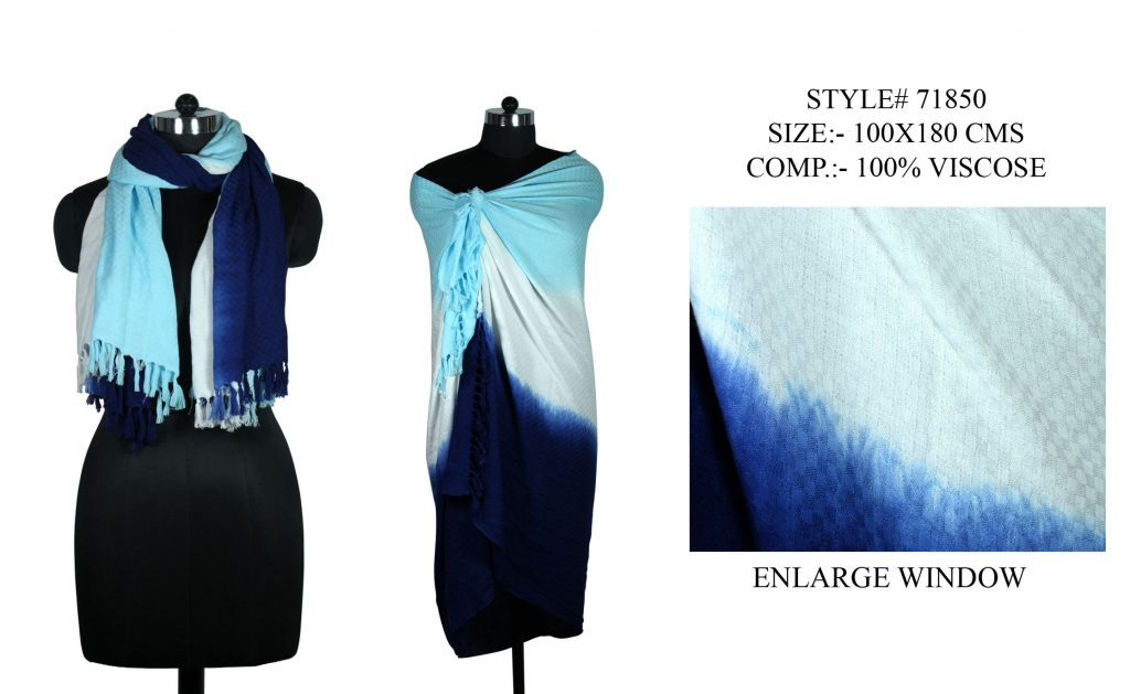 TIE DYE STOLE IN SOFT VISCOSE DOBBY FABRIC WITH SELF KNOT FRINGES
