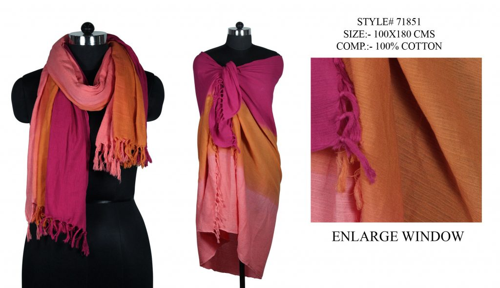 TIE DYE STOLE IN SOFT COTTON CREAP FABRIC WITH SELF KNOT FRINGES