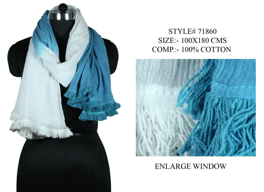 TIE DYE STOLE IN SOFT COTTON FABRIC WITH FANCY LACE ATTACHED