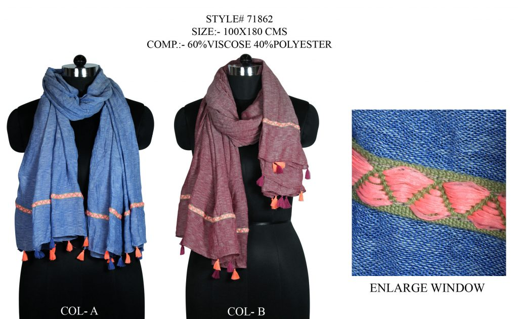 SOLID DYED STOLE IN VISCOSE POLYESTER FABRIC WITH FANCY LACE AND TASSELS