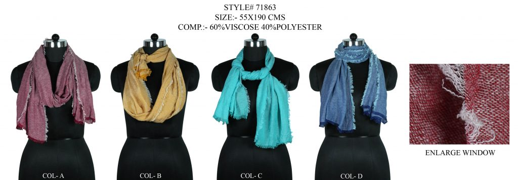 SOLID DYED STOLE IN SOFT VISCOSE POLYESTER FABRIC WITH ALL SIDES EYELASH FRINGES