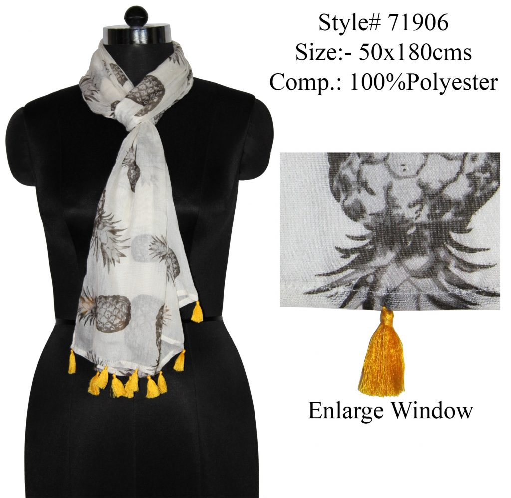 PINEAPPLES DESIGN PRINTED STOLE IN SOFT POLYESTER FABRIC WITH FANCY TASSELS