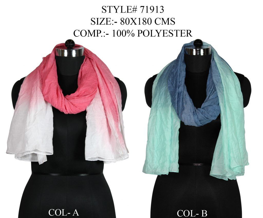 TIE DYE STOLE IN SOFT POLYESTER FABRIC WITH ALL SIDES STITCHED