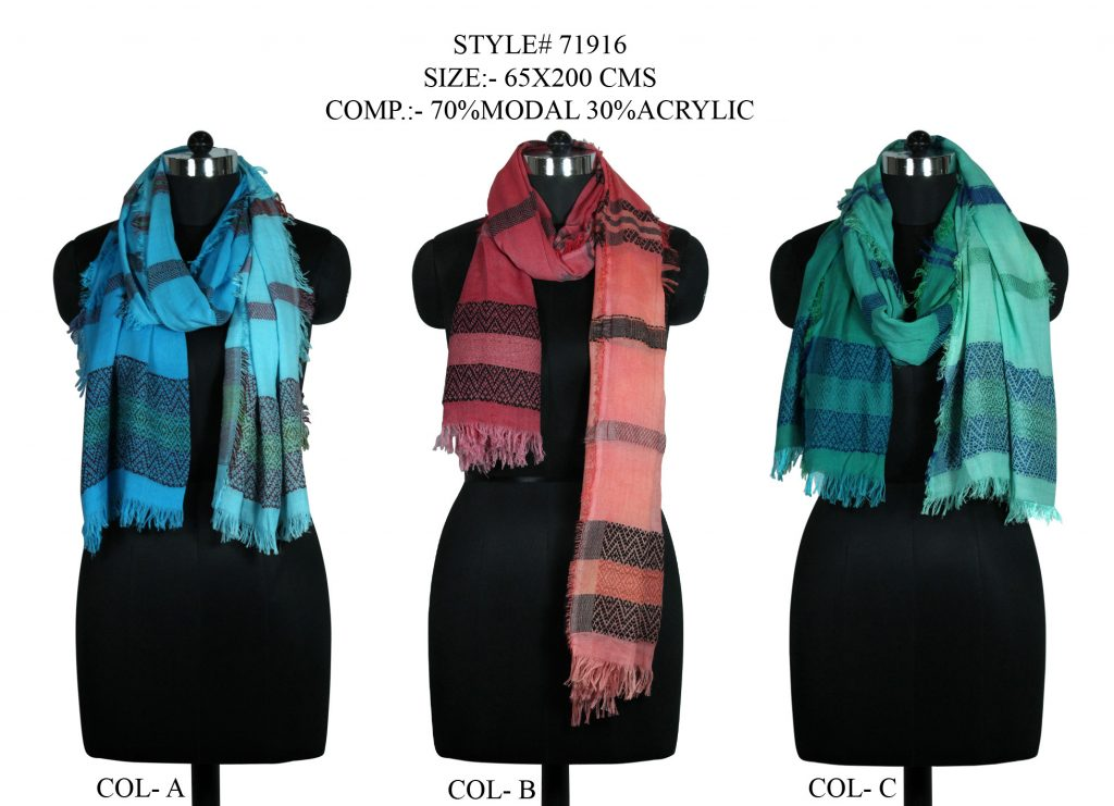 YARN DYED STOLE IN SOFT MODAL ACRYLIC FABRIC WITH ALL SIDES EYELASH FRINGED