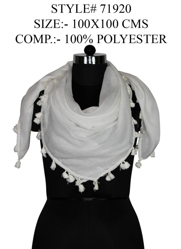 SOLID SQUARE SCARF IN SOFT POLYESTER FABRIC WITH ALL SIDES FANCY TASSELS FOR WOMENS