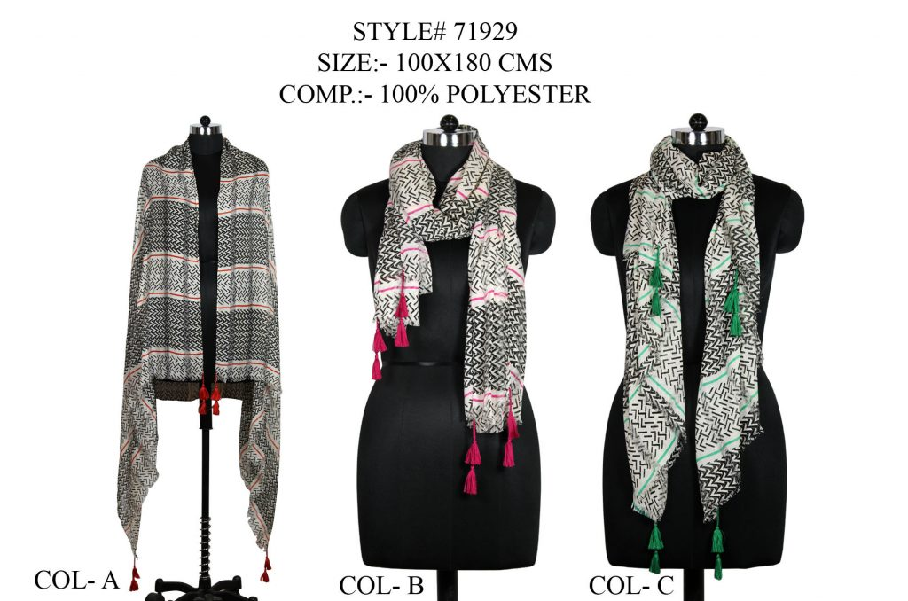 ALL OVER UNIQUE DESIGN PRINTED STOLE IN SOFT POLYESTER FABRIC WITH ALL EYELASH FRINGES   AND FANCY T