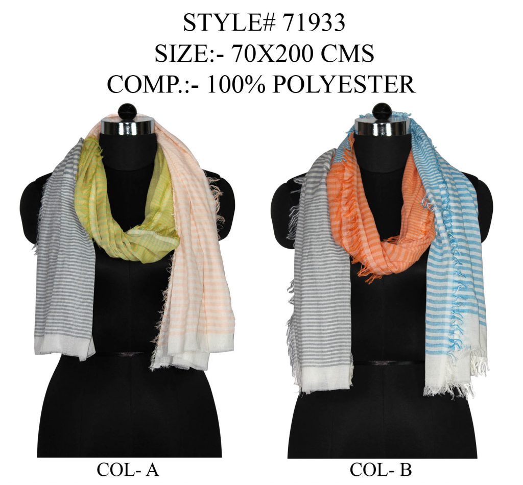 YARN DYED MULTI STRIPES STOLE IN SOFT POLYESTER FABRIC WITH ALL SIDES EYELASH FRINGES