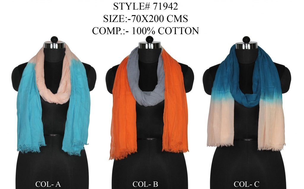 TIE DYE STOLE IN SOFT COTTON FABRIC WITH EYELASH FRINGES
