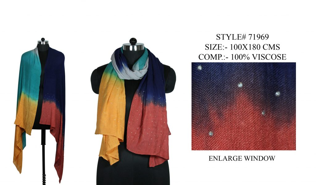 TIE DYE STOLE IN SOFT VISCOSE FABRIC WITH ALL OVER STUB EMBROIDERY