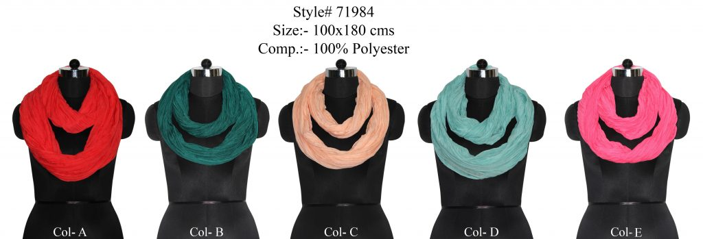 SOILD DYED SNOOD / INFINITY SCARF IN SOFT POLYESTER FABRIC