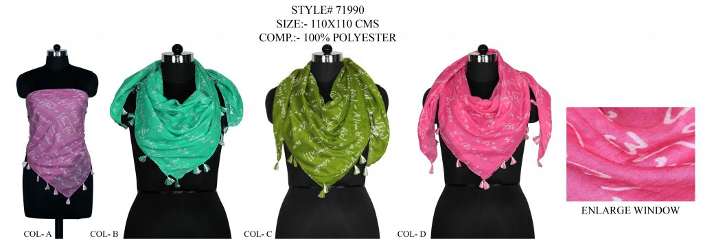 NUMERICAL DESIGN PRINTED SQUARE SCARF IN POLYESTER FABRIC WITH FANCY TASSELS