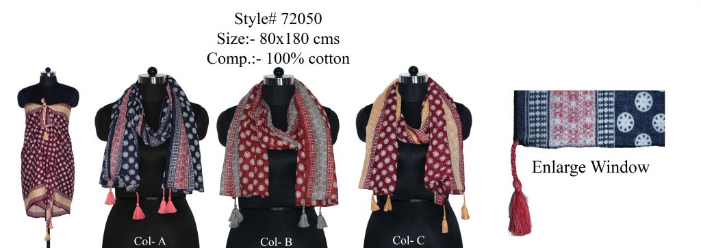 DOTTED MOTIF DESIGN PRINTED STOLE IN SOFT COTTON  FABRIC WITH FANCY TASSELS