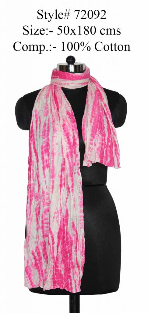 TIE DYE STOLE IN SOFT COTOOTN FABRIC WITH CRINKLE AND ALL SIDES STITCHED