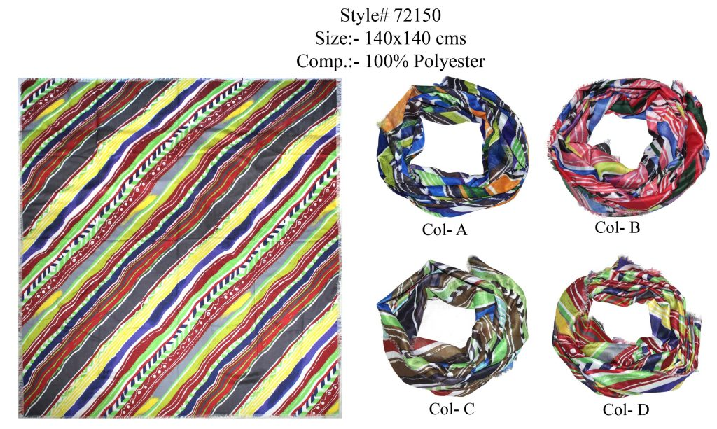 DIGITAL PRINTED SQUARE SCARF IN SOFT POLYESTER FABRIC WTH ALL SIDES EYELASH FRINGES