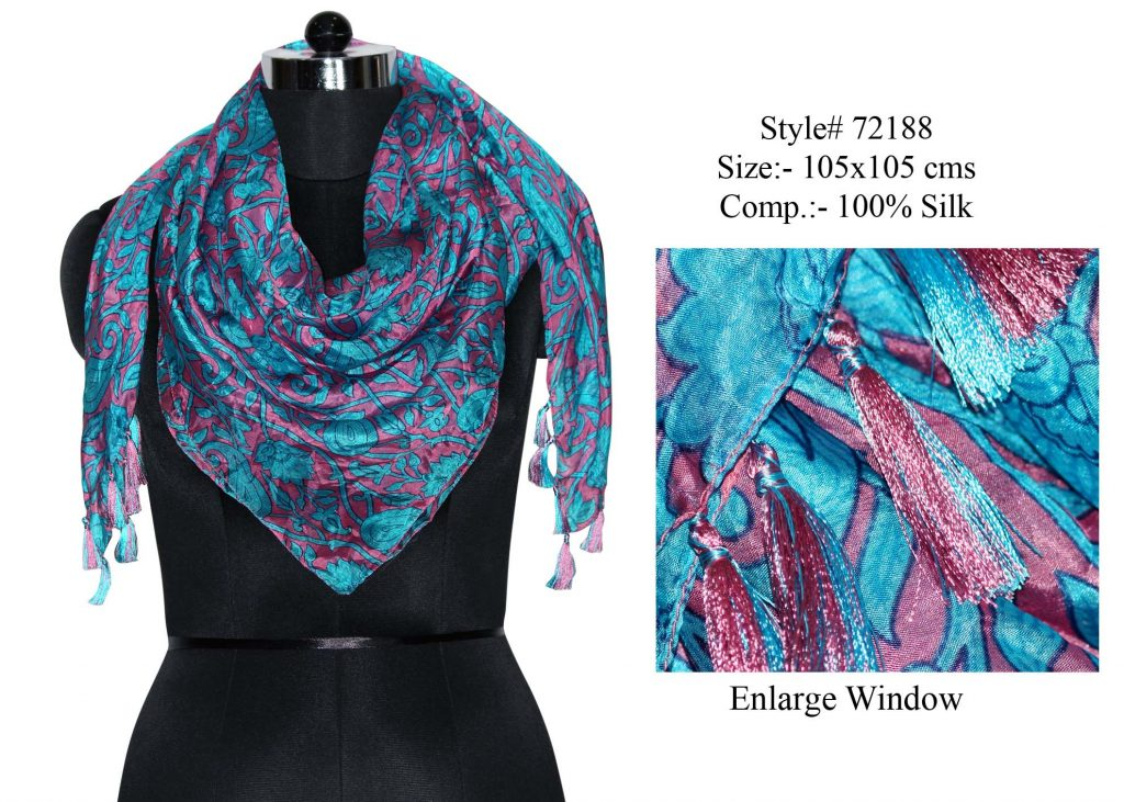 STYLISH MOTIF  PRINTED DESIGN SQUARE SCARF  IN SOFT SILK FABRIC WITH FANCY TASSELS