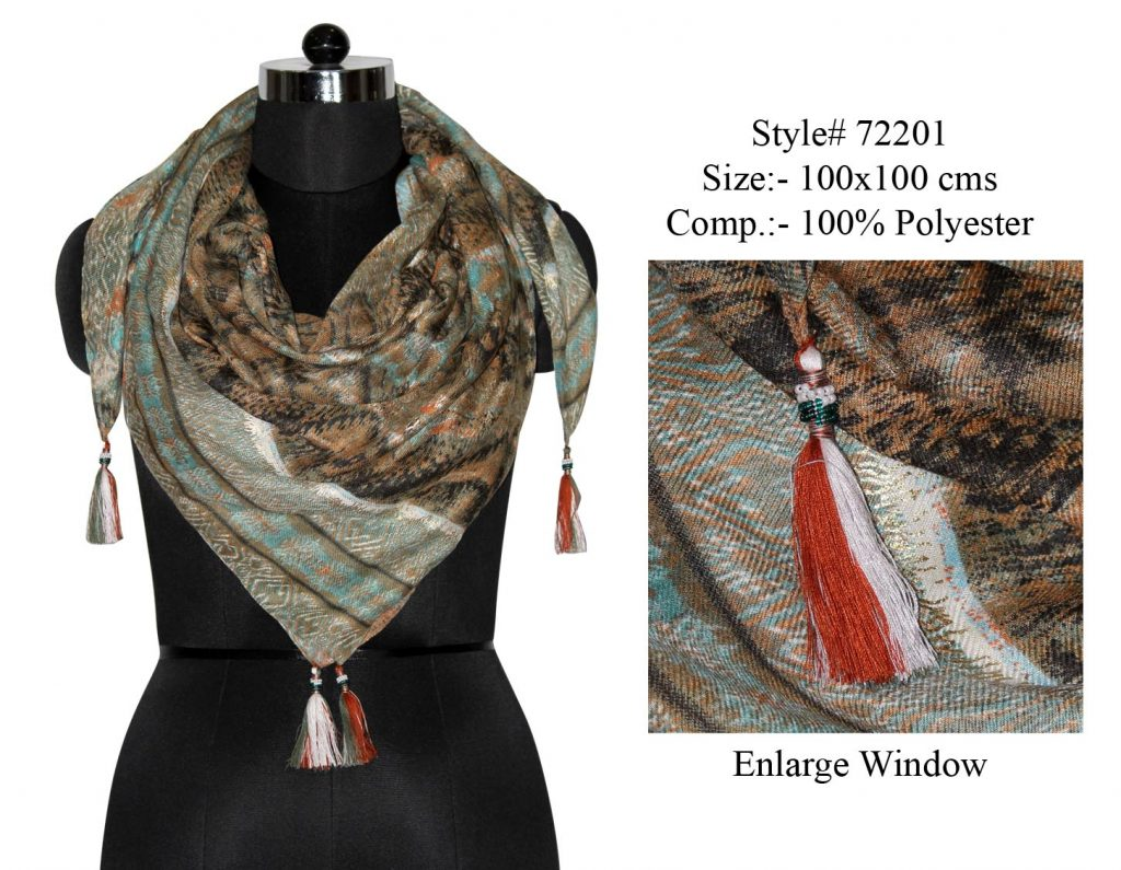 YARN DYED SQUARE SCARF IN SOFT POLYESTER FABRIC WITH FANCY BEADED TASSELS