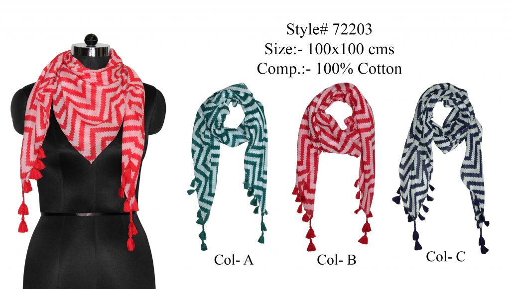ZIG ZAG WAVES PRINTED SQUARE SCARF IN SOFT COTTON FABRIC WITH FANCY TASSELS