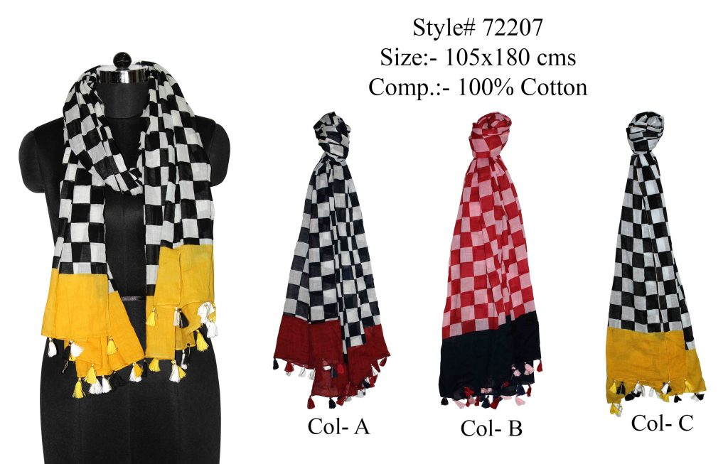 CHESS BOARD DESIGN PRINTED STOLE IN SOFT COTTON FABRIC WITH CONTRACT BORDER AND FANCY   TASELS