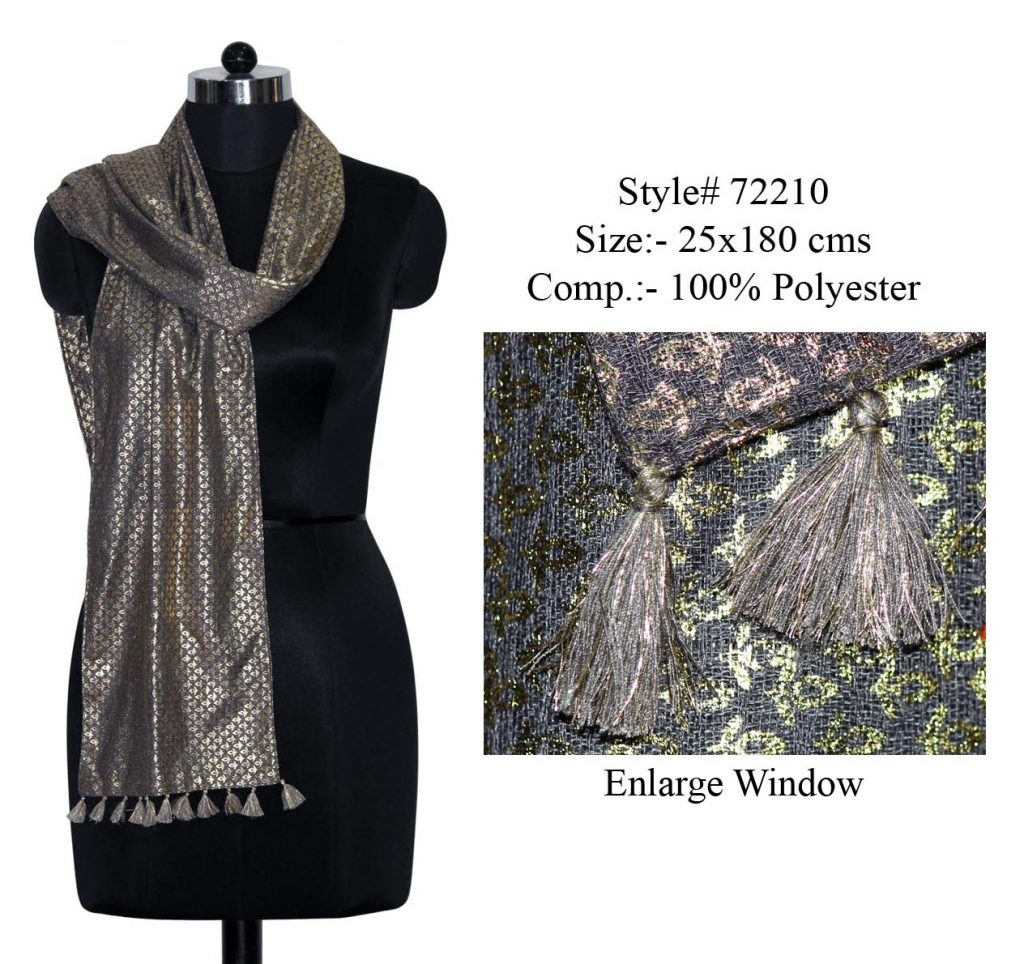 SKINNY SCARF IN SOFT POLYESTER FABRIC WITH ALL OVER GOLDEN FOIL PRINTED AND FANCY TASSELS