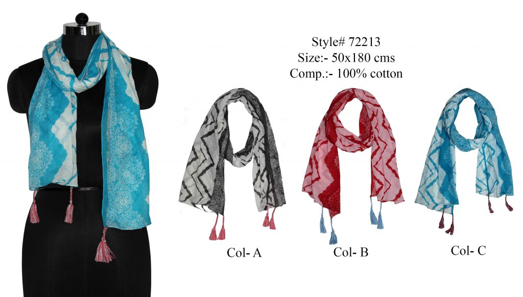 MOTIF PRINTED STOLE IN SOFT COTTON FABRIC WITH FANCY TASSELS