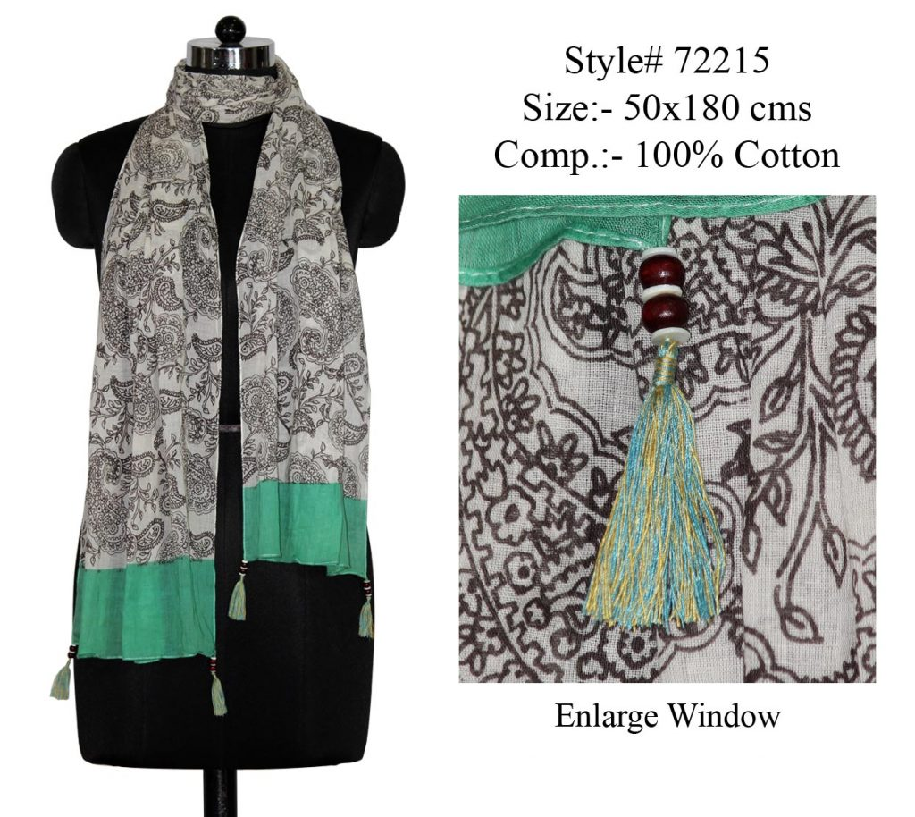 MOTIF PRINTED STOLE IN SOFT COTTON FABRIC WITH WITH CONTRAT BORDER AND FANCY TASSELS