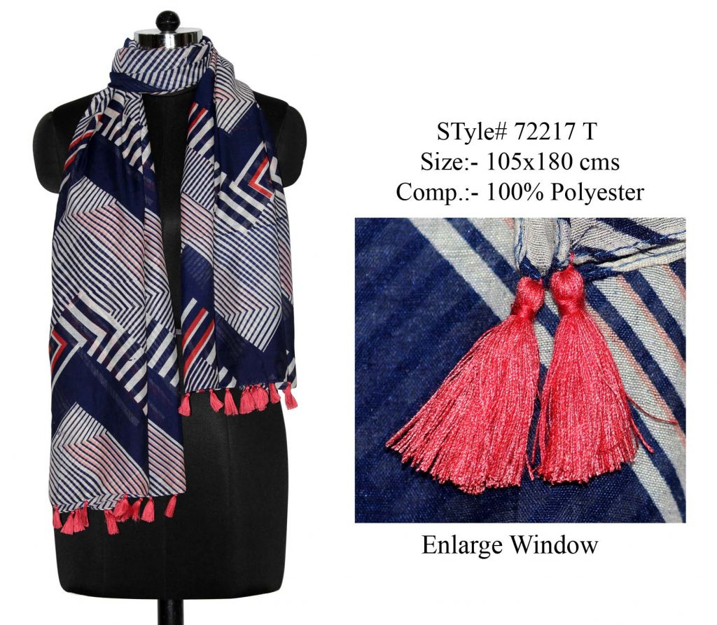 GEOMETRIC DESIGN PRINTED STOLE IN SOFT POLYESTER FABRIC WITH FANCY TASSLES FOR WOMENS