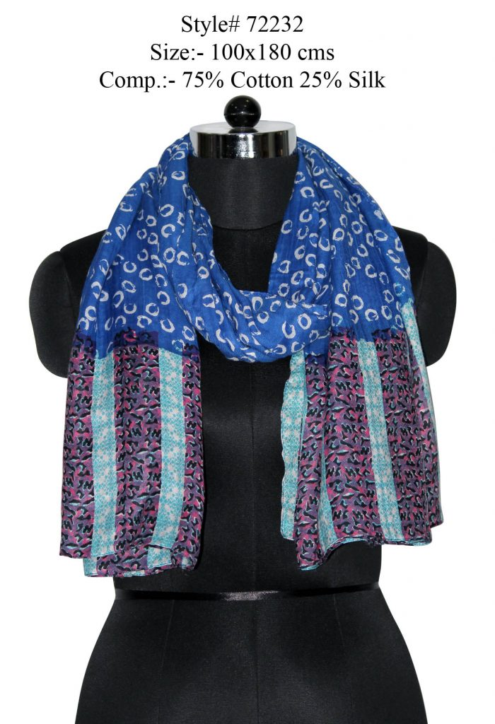 UNIQUE DESIGN PRINTED SCARF IN SOFT SILK FABRIC WITH ALL SIDES STITCHED