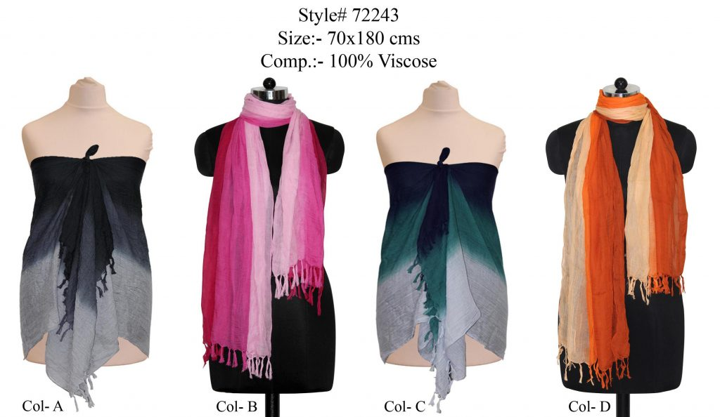 TIE DYEL STOLE IN SOFT VISCOSE FABRIC WITH SELF KNOT FRINGES