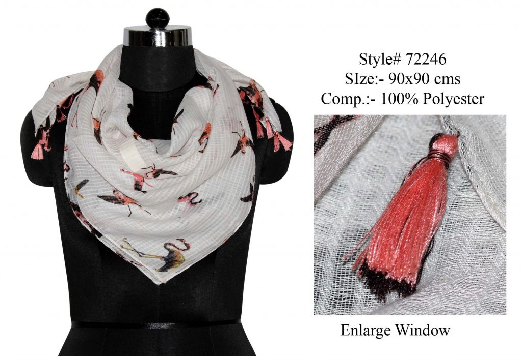 FLAMINGO PRINTED SQUARE SCARF IN SOFT POLYESTER DOBBY FABRIC WITH FANCY TASSELS