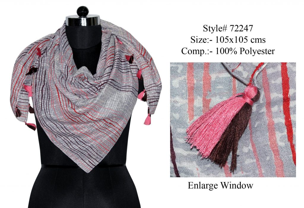 UNIQUE SCRIBBLE DESIGN PRINTED SQUARE SCARF IN SOFT POLYESTER FABRIC WITH FANCY TASSELS