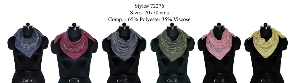 SMALL PASILEY DESIGN PRINTED SQUARE SCARF IN SOFT POLYESTER VISCOSE FABRIC WITH ALL SIDES   STITCHED