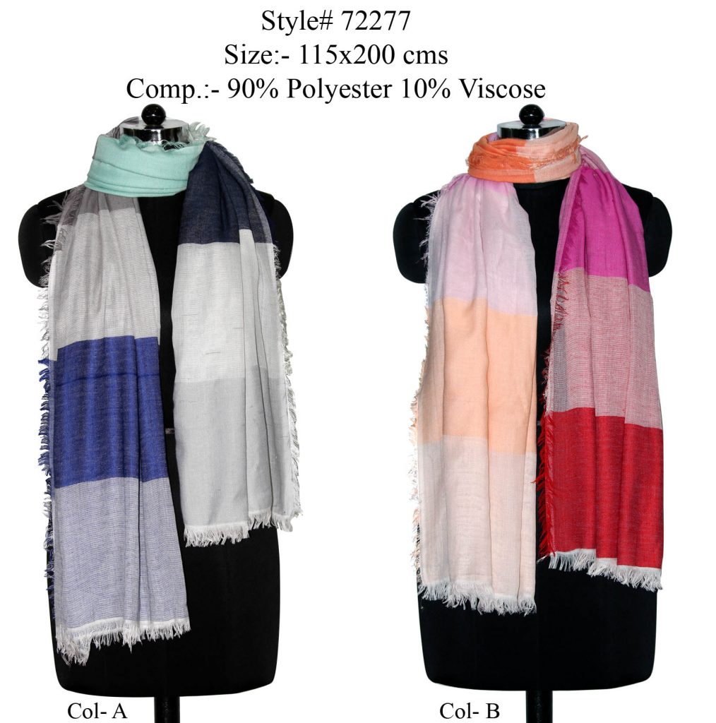 YARN DYED STOLE IN SOFT POLYESTER, VISCOSE FABRIC WITH ALL SIDES EYELASH FRINGES