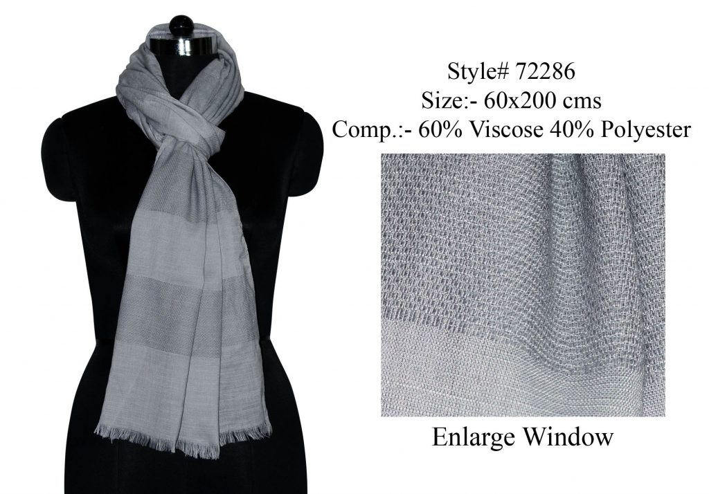 SOLID YARN DYED STOLE IN SOFT VISCOSE, POLYESTER FABRIC WITH EYELASH FRINGES