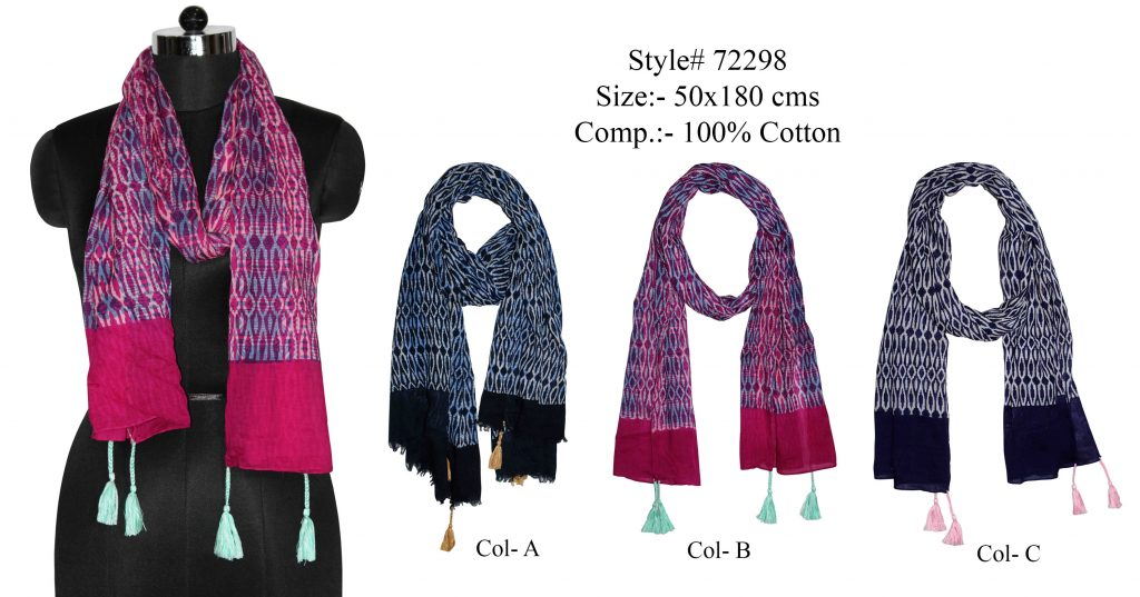 ALL OVER GEOMETRIC DESIGN PRINTED STOLE IN SOFT COTTON FABRIC WITH SELF KNOT FRINGES