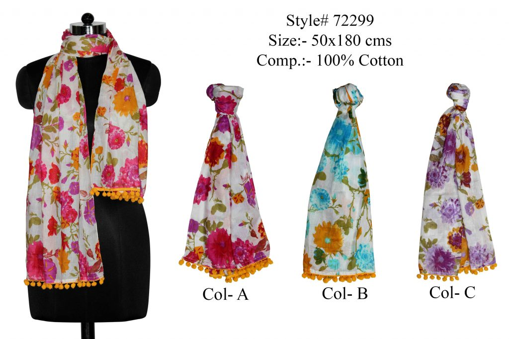 ALL OVER ABSTRACT OVERLAP DESIGN PRINTED STOLE IN SOFT COTTON FABRIC WITH BORDER AND   FANCY TASSELS