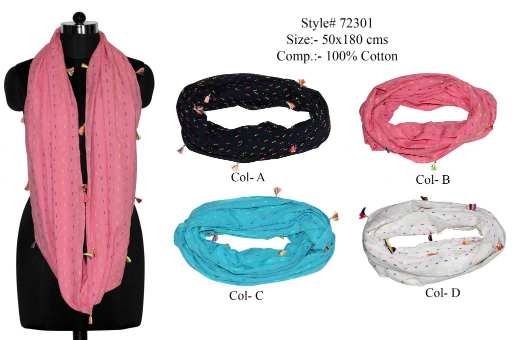 MULTI SWISS DOT PRINTED SNOOD/ INFINITY SCARF IN SOFT COTTON FABRIC WITH FANCY TASSELS FOR WOMENS