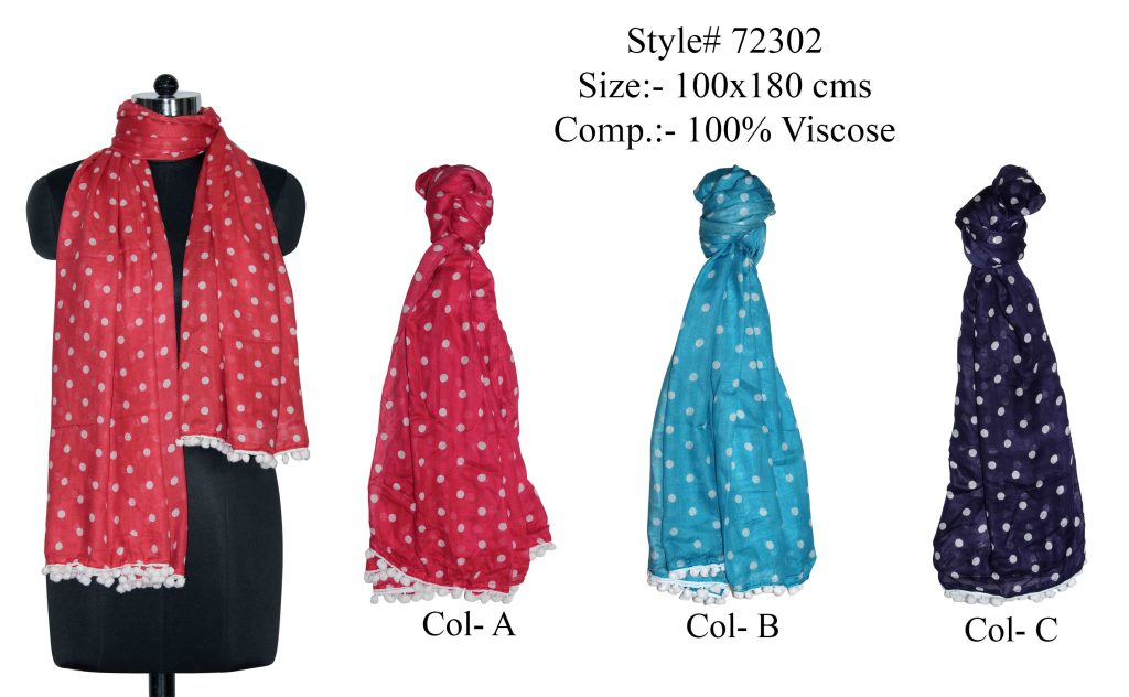 ALL OVER FLORAL DESIGN PRINTED STOLE IN SOFT COTTON FABRIC WITH FANCY POM POM LACE   ATTACHED