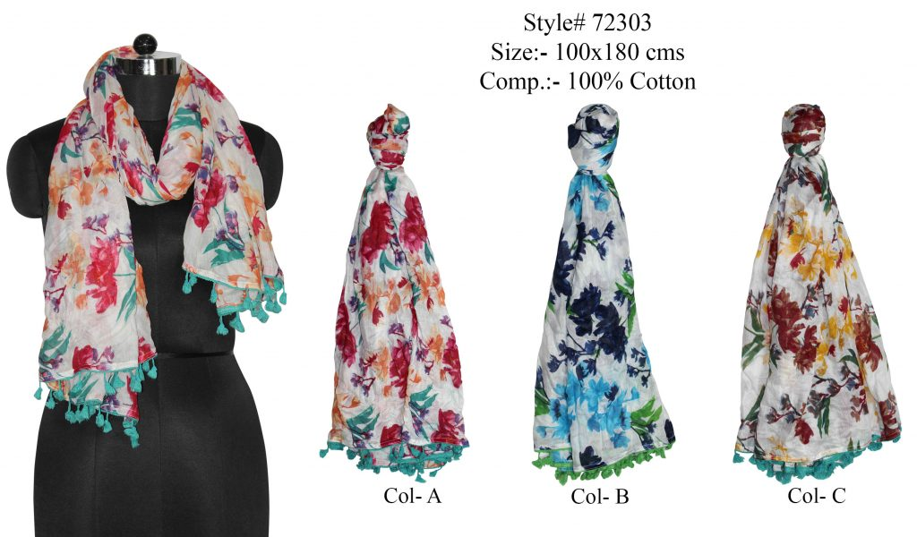 ALL OVER POLKA DOT PRINTED STOLE IN SOFT VISCOSE FABRIC WITH FANCY POM POM LACE   ATTACHED