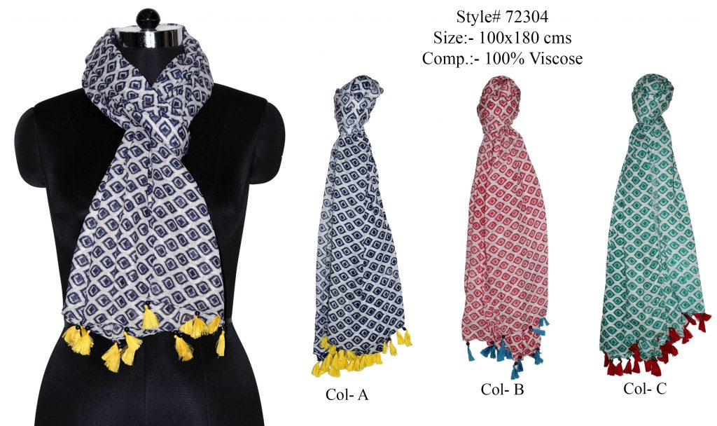 ALL OVER FLORAL DESIGN PRINTED STOLE IN SOFT VISCOSE FABRIC WITH FANCY TASSEL LACE   ATTACHED