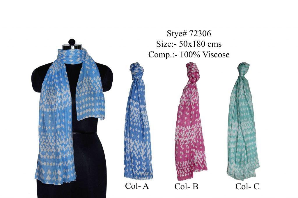 ALL OVER DIAMOND NET DESIGN PRINTED STOLE IN SOFT VISCOSE FABRIC WITH ALL SIDES STITCHED