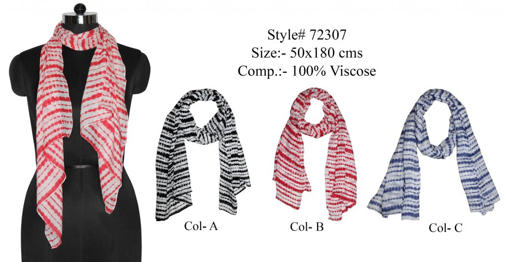 ALL OVER DOTTED STRIPES PRINTED STOLE IN VISCOSE FABRIC WITH ALL SIDES STITCHED