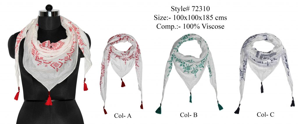 ALL OVER BATIC DESIGN PRINTED TRIANGLE IN SOFT VISCOSE FABRIC WITH FANCY BEADED TASSELS
