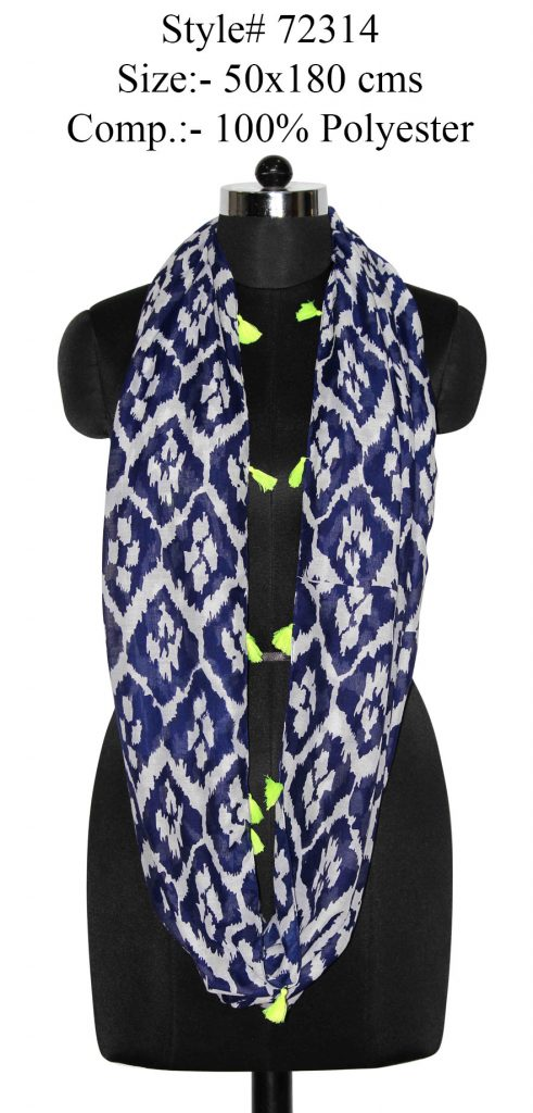 ALL OVER IKAT PRINTED SNOOD/INFINITY SCARF IN SOFT POLYESTER FABRIC WITH FANCY TASSELS FOR WOMENS