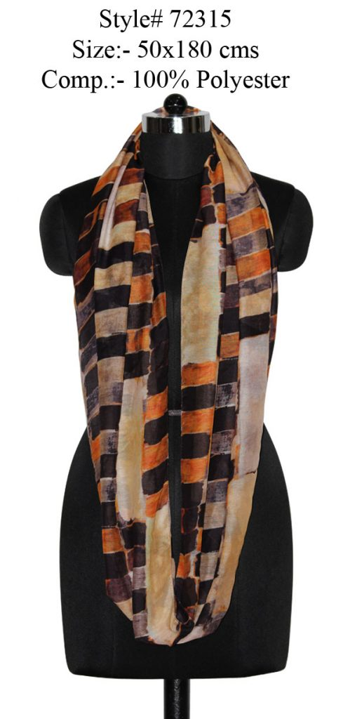ALL OVER CHECKS PRINTED SNOOD/ INFINITY SCARF IN SOFT POLYESTER FABRIC