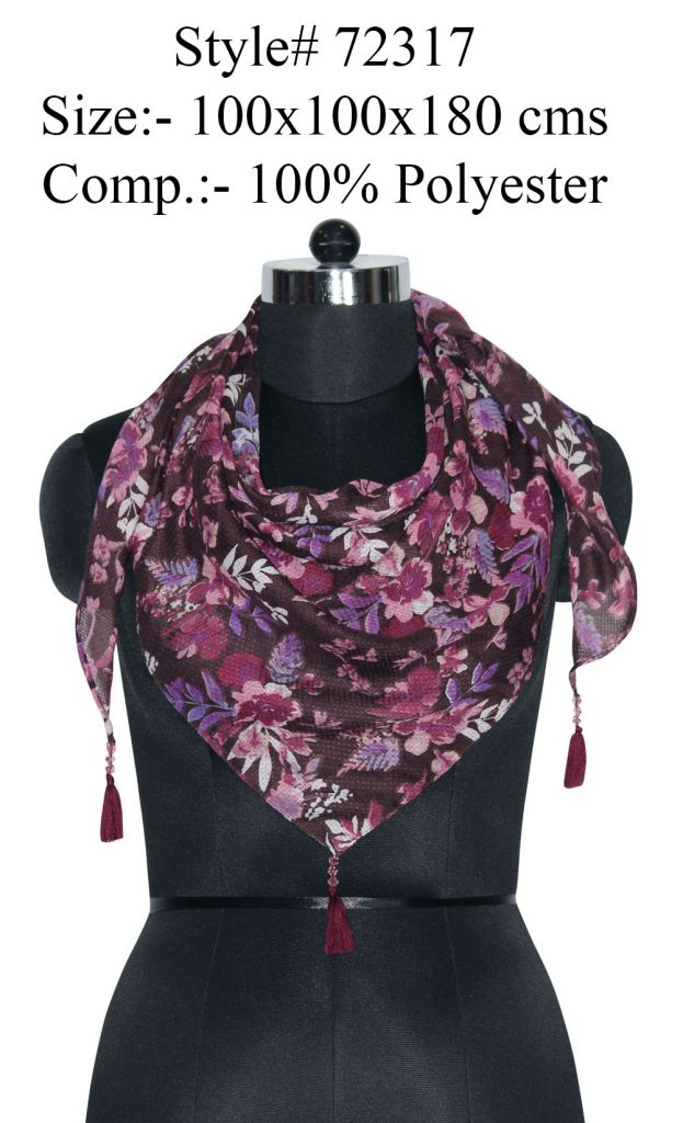 ALL OVER FLORAL PRINTED TRIANGLE IN SOFT POLYESTER DOBBY FABRIC WITH FANCY BEADED TASSELS