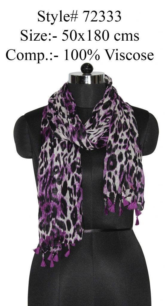 TIGER PRINTED STOLE IN SOFT VISOCSE FABRIC WITH FANCY GLASS BEAD TASSELS