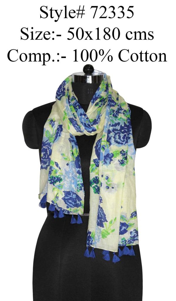 ALL OVER FLORAL PRINTED STOLE IN SOFT COTTON FABRIC WITH FANCY TASSELS