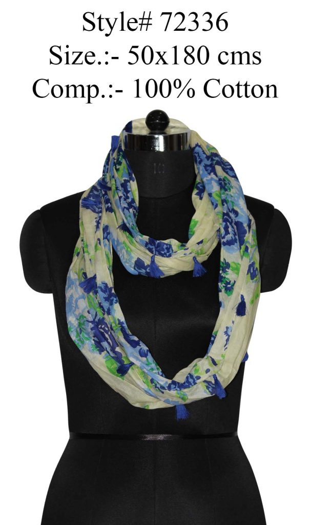 ALL OVER FLORAL PRINTED SNOOD/ INFINITY SCARFS IN SOFT COTTON FABRIC WITH FANCY TASSELS