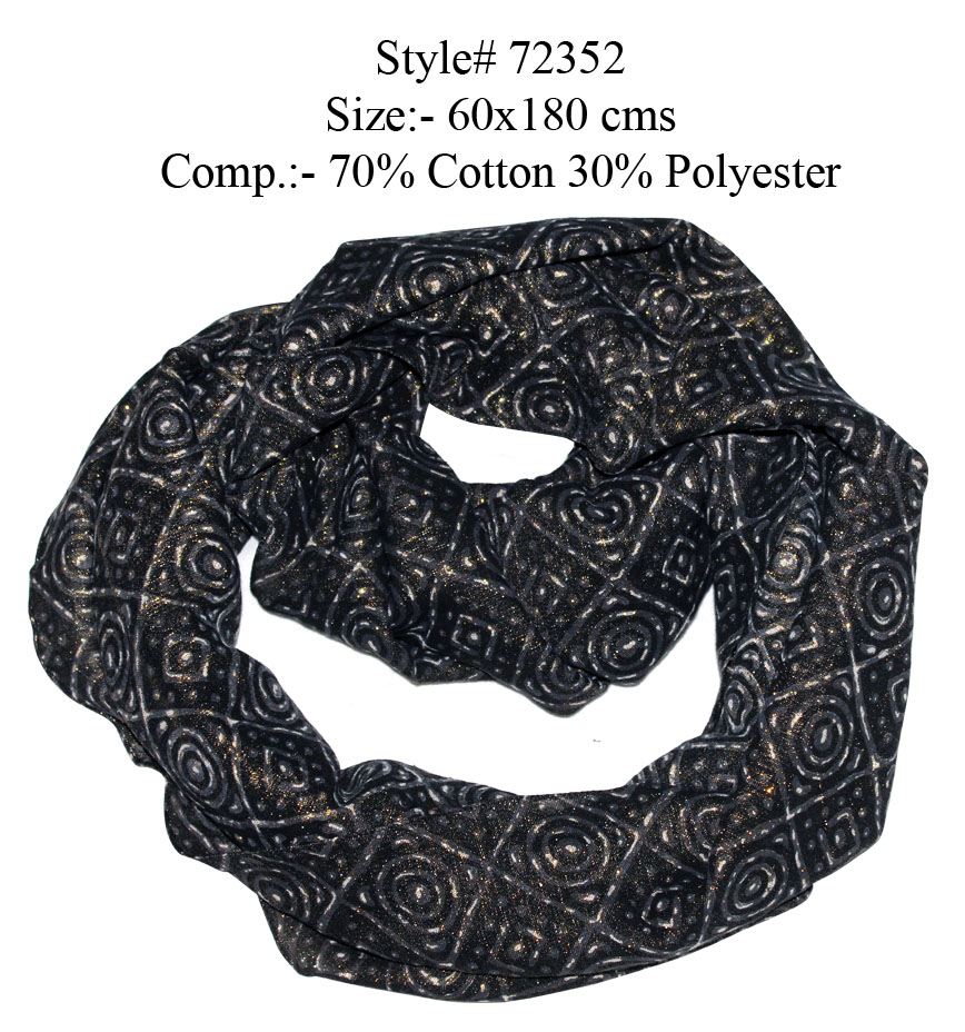 UNIQUE DESIGN PRINTED SNOOD/ INFINITY SCARF WITH GOLD FOIL IN SOFT COTTON POLYESTER FABRIC