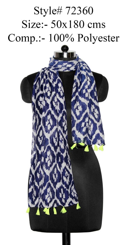 ALL OVER IKAT PRINTED STOLE IN SOFT POLYESTER FABRIC WITH FANCY TASSELS